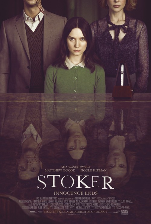 captaincoolasfuck:   Stoker (2013)  I'm going to do my best to avoid spoilers with this review, but to start things off I need to make one thing clear: this is the definition of an incredibly well-made bad movie. The script is atrocious. With the exception of a flashback scene involving Matthew Goode's character, Charlie, and India's (Mia Wasikowska) father, Richard (Dermot Mulrooney), the writing is horrible to the point of head shaking. The dialogue of the entire first third of the movie is stale and just plain unbelievable. I haven't seen Prison Break, but for Wentworth Miller's sake, I hope he's a better actor than he is a screenwriter.  That being said, one of the most gifted filmmakers of our time, Park Chan-wook, was hired to direct and because of that the film was somehow saved. While the dialogue and distinctly high number of potholes detracted from my overall enjoyment, I found Park's filmmaking to be mesmerizing. You leave the theater having been spellbound and entertained for the entire length of the film.  Each of the three lead actors deliver satisfactory performances. Notably Matthew Goode as the mysteriously ominous, 'Uncle Charlie.' Goode is a fantastic actor, and like Rainn Wilson and Patrick Wilson, I often find myself scratching my head at the fact that these guys are constantly cast in bad and lesser-known films. Nicole Kidman slacks here and there, chewing up scenery, but when she's good she's absolutely brilliant. Mia Wasikowska delivers the second best performance of the movie, just behind Goode. She makes her character believable enough so that you're invested in the film in spite of its flaws. Basically, if you want to watch a visually stunning film for a little over and hour and half and not get wrapped up in any sort of storyline, this is the movie for you. I will give Park Chan-wook all the credit in the world for making this watchable. Despite being poorly written with a number loose ends, Stoker sticks with you. It's been on my mind since I saw it last night and my thoughts about it continue to fluctuate. This review could be very different six months from now, when it comes out on DVD and Blu-Ray. For now, I'm going to give it two stars. It is well worth a watch despite flawed storytelling. Give Park and the actors a different script and you'd probably have a great film. Still, it makes me wonder how this script made the list of 'Best Unproduced Screenplays' and had the likes of Colin Firth attached to star. Something is seriously wrong in Hollywood. **/****