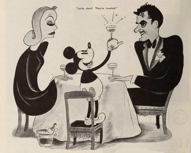 Mickey Mouse has cocktails with Greta Garbo and John Gilbert. From an early 1930s fan magazine.