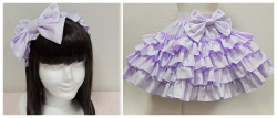 Angelic Pretty set I am currently in a payment plan for. Only one more payment to go after Monday. It's a bit odd for me to buy a non print item, but I love this piece. The frills are very cute and princess-like and the solid color makes this a very versatile piece. I can add lots more pastel colors for a fairy kei look, pearls and white for a more princess elegant sweet look, or black, bats, and skulls for a more creepy-cute look. I think it would work with a lot of items I already own in my closet. I can't wait to finally pay it off :>