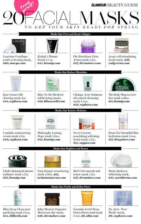 glamour:  20 facial masks to get your skin ready for spring. Shop them all here!  Love this !