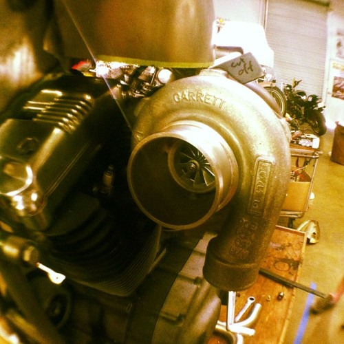 Forced induction.  Turbo by Garrett.  Finally mounted to the bike.  Now to plumb it. #bf5 #fuckthesystem #boostisgood