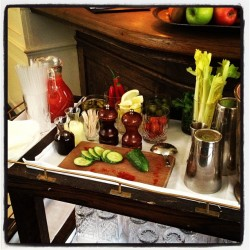 Bloody Mary tray. Necessary.  (at Dean Street Townhouse)