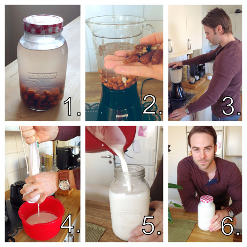 "getthisfirefighterfit:  Almond milk tutorial.. 1. Soak a cup of raw almonds overnight. 2. Add the soaked almonds and 4 cups of water to your blender. Optional: sweeten it with a couple of dates, agave, vanilla and/or maple syrup. 3. Blend it at high speed for a minute or two. 4. Pour the milk through a ""nut milk bag"" and squeeze out the liquid.. 5. Pour the milk into a purdy little bottle/jar.. 6. Lasts 4-7 days in the fridge. Enjoy!"