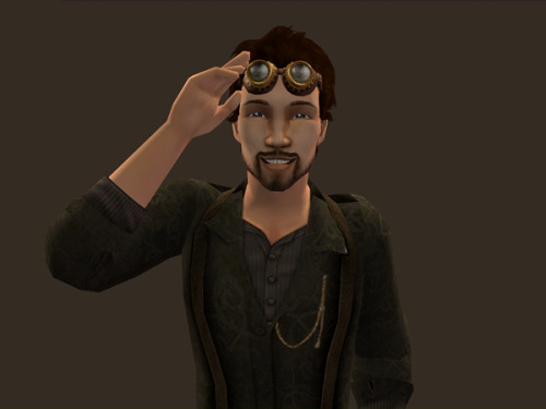 Yay, I finally have a sim in my new game! This is Matthew, the inventor in my new Steampunk neighbourhood. I'm still getting used to the right size for my print screens, sorry for the zoomed-out-ness.