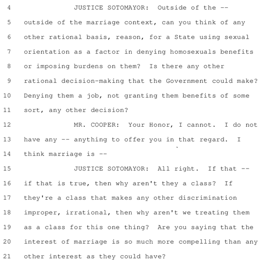 drinkyourjuice:   Justice Sotomayor kicking dicks in via this transcript of the Prop 8 Arguments.