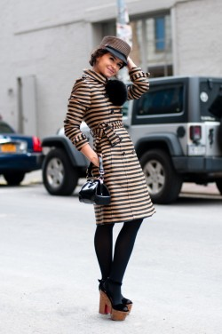 pretaportre:  Miroslava Duma in a Burberry Prorsum coat, Christian Louboutin platform shoes, and an Eugenia Kim hat.