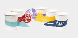 Japan-themed paper cup sleeves. So you'll never lose another cup at a party. More: http://www.spoon-tamago.com/2015/04/29/japan-themed-paper-cup-sleeves-by-akira-yoshimura/