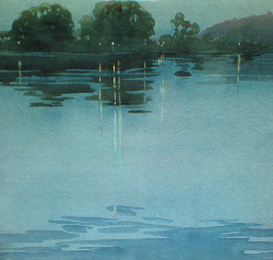 yama-bato:  Archibald Bertram Webb The River, Moonlight c. 1929   Watercolour and pencil, signed A B Webb in ink, lower right, 25.0 x 26.9 cm via