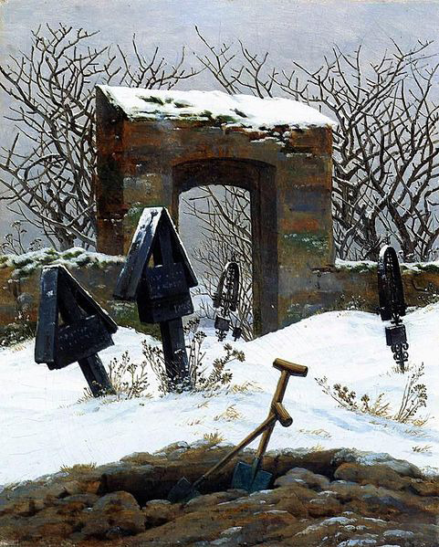 Caspar David Friedrich Graveyard Under Snow 1826