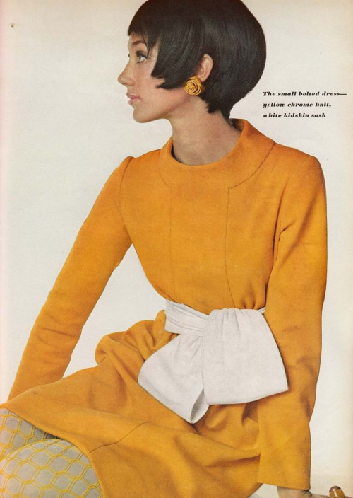 Model wearing fashion by Chester Weinberg for Vogue, September 1967. Photo by Irving Penn.