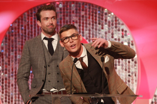 Emmett and Kieron accepting their British Soap Award