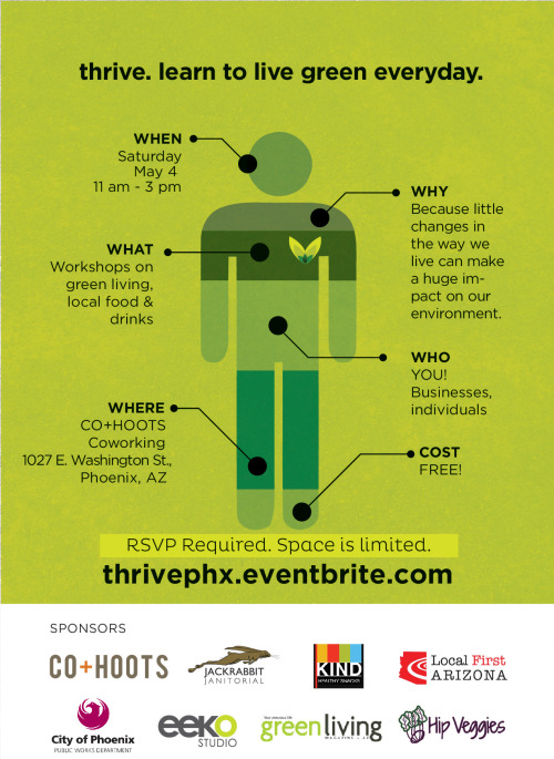 On Saturday, May 4, Thrive PHX 2013 will feature short workshops on how to be green in various aspects of your life. There will also be booths with information from local, green businesses including Hip Veggies, Sit Green, Local First AZ, Jackrabbit Janitorial, City of Phoenix Public Works, IKOLOJI, Truce, Refresh Glass, Tracy Diziere and Kind Snacks. Food trucks will also be on site. The event will take place at CO+HOOTS in Downtown Phoenix. Learn more and register at http://thrivephx.eventbrite.com/.