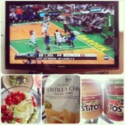 Game time!! W/ some salad and organic tortilla chips :) #nba #knicks #celtics