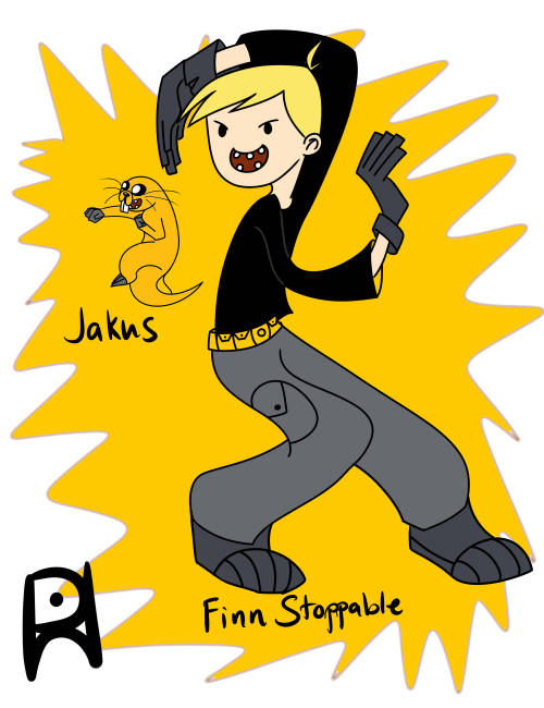 pablonghapon:  Another Adventure time X Kim Possible Cross-over! :D Finn Stppable and Jakus! Done in SAI with Bamboo fun