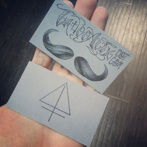 Business cards are in!  #tattooerstuff #mustache #businesscard  tattooalix.com