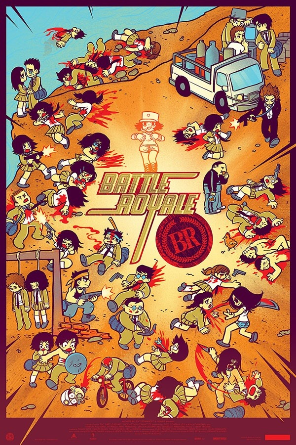 albotas:  Great Battle Royale Poster from Mondo with Bryan Lee O'Malley and Kevin Tong Check out this exclusively limited poster from Mondo. The poster was created for a Tugg screening of the cult classic Battle Royale at the new Alamo Drafthouse in Houston. However, if you are dying to get your hands on this poster (like me), you can also request the screening from Tugg. If your town gets it, the film will play there and you'll have the opportunity to get this awesome poster. Spotted on Badass Digest. You can follow Mondo, Bryan Lee O'Malley and Kevin Tong all on Twitter. Check It: More Film on AlbotasBuy It: Battle Royale Complete Collection on Blu-Ray