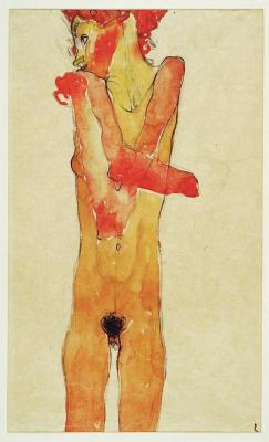 taf-art:  Girl with Folded Arms (1910). Egon Schiele.