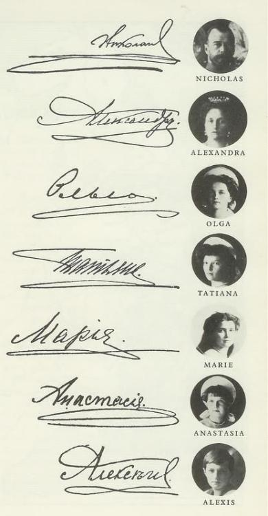 lostsplendor:  Signatures of the Russian Imperial Family