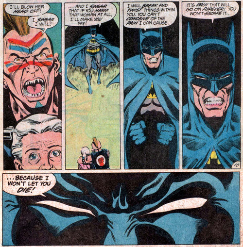 deantrippe:  greetingsfromgotham:  Jeez, sometimes Batman can be pretty hardcore.  so you think batman's a wuss for not killing criminals? interesting.