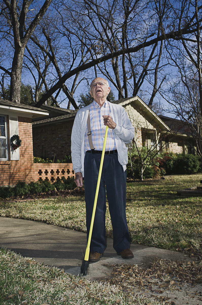 "Papaw (my grandpa) sweeping his sidewalk to escape the people overrunning his house.  "" I came out here to get some peace and you come out here poppin' that thing off every whichaway!"""