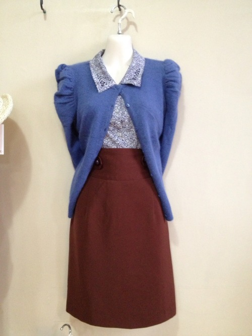 Angora cardigan with pencil skirt and blouse