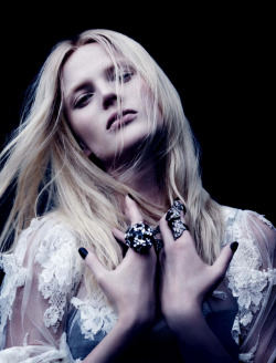 candentia:  Anne Vyalitsyna in 'L'Ange Noir (Dark Angel)' Photographer: Ben Hassett Dress: Dolce & Gabbana F/W 2012/13 Numéro #137 October 2012