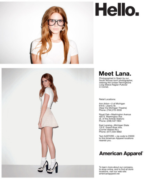daffodils:  americanapparel:  We tumbled upon this spoof ad of Lana Del Rey for American Apparel. Should she model for us?  IS THAT REAL^^^^?