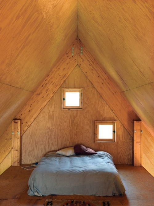 justthedesign:  Bedroom At The Jean-Baptiste Barache Cabin By Arba Photography By Céline Clanet  A little arrested-development, but I like the cute latched windows
