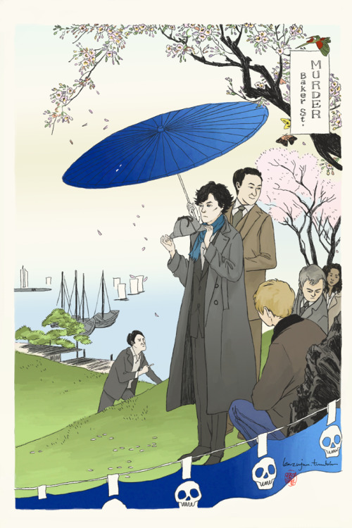 kazujun:  Sherlock x Ukiyo-e Japanese woodblock print for the Lets Draw Sherlock famous works project! The original artwork, c.1890, is by Ogata Gekko. He's not quite a well-known artist outside of Japan nor is this piece the most famous of his body of work. But I like it tremendously because cherry blossoms are my favourite and also in season! His other works are equally beautiful though, and you can browse a large collection of his prints here if you're interested! This particular artwork is part of his Fujin Fuzoku Zukushi series, which basically focus on women idling about doing nothing much. I feel like Sherlock would have hated it :)  Also! If you're interested in how a woodblock print gets made in the traditional way, you should watch this crazy amazing video