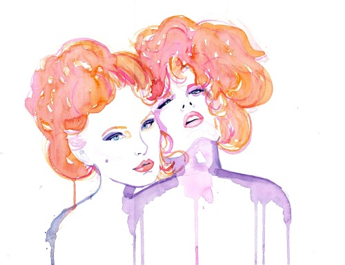 eatsleepdraw:  Klimt's Mistresses. An original watercolor painting by Nicola MacNeil. Click on the Mistresses to purchase on Etsy.