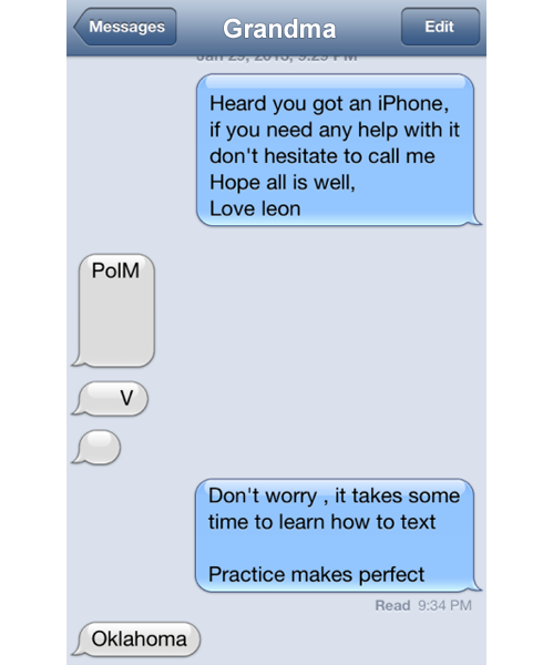 "tastefullyoffensive:  ""My Grandmother got an iPhone, but she's having a little trouble texting.""[via]"