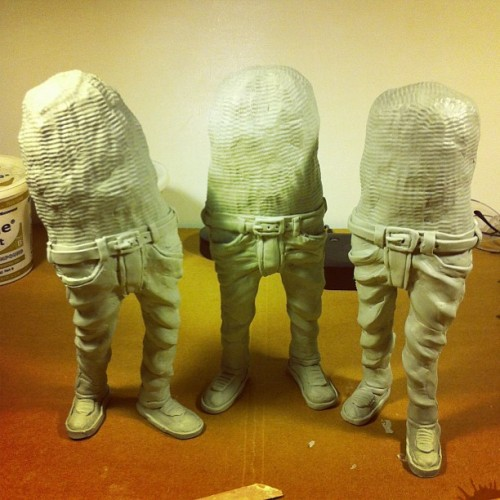 All three before adding finger appendages. #doublepunch #sculpture
