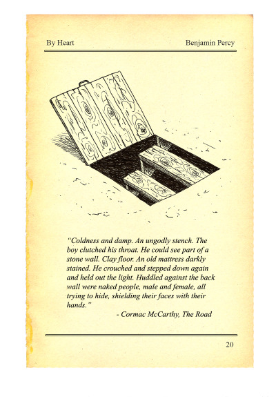 booksbyheart:  Doug McLean's creeptastic art for Cormac McCarthy's The Road. This week in our series, Benjamin Percy (Red Moon) called this passage the scariest in all literature.  Percy makes the case at The Atlantic.