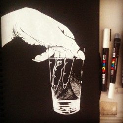 White @uni_posca on black paper of a Daido Moriyama photo