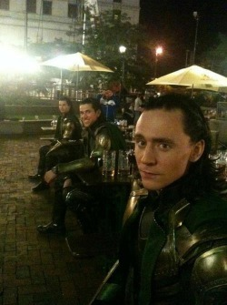 gnstevenson:  Tom and his Loki doubles…Tom's still the prettiest and he's not even trying :P