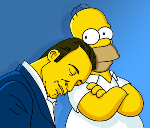 drawthesimpsons:  Jean Dujardin sleeping on Homer Simpson (more info about the meme)