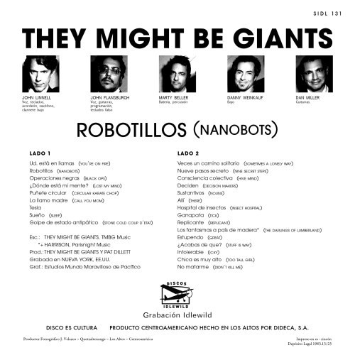 Ant made this back cover for Nanobots in the style of a Central American record from the 60's.