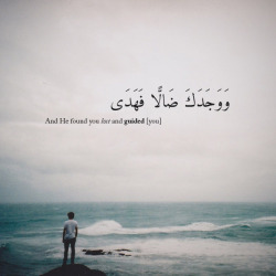 "sho3la-97:     ""And He found you lost and guided [you]"" [Surah ad Duha, verse 7]"