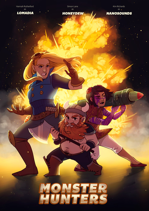 kirindave:  boaillustration:  Sadly I no longer know who requested this on stream, but here's Honeydew's Angels, Monster Hunters!  More amazing work from Boa. I really like how Simon looks in this piece, he's somehow he most vulnerable looking character despite being a hairy axe-wielding viking.