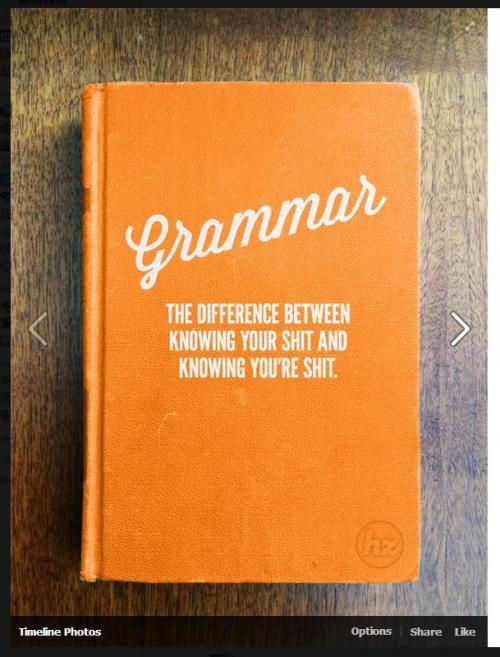 "booksdirect:  ""Grammar: The difference between knowing your shit and knowing you're shit."""