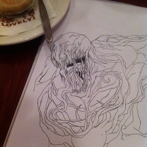 Casually drawing at pancake parlor. Anyone else vibing this as much as me? Hahaha. #effortless #venom