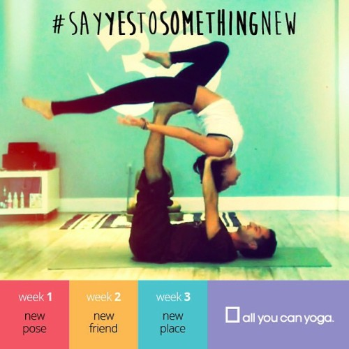 Announcing @allyoucanyoga's very first Instagram Challenge:  #SayYesToSomethingNew - 3 weeks of YES!  Bet you could use a lot more yes in your life. Everyone could, really. Think about it: saying yes means you will try something new, meet someone new, and go somewhere new.  But here's the thing: Yes is hard. It requires action and commitment.  WEEK 1 - Try something new. Perhaps a new pose? Show us how to get there on a video. Make it so cha