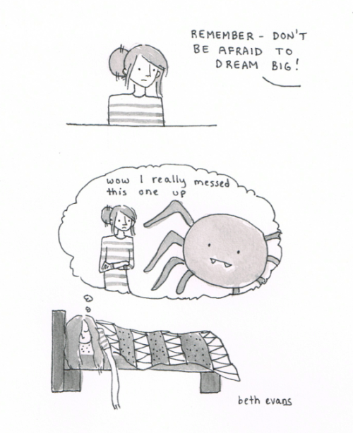 thefrogman:  Drawn by Beth Evans [tumblr | twitter | etsy]  Dream big