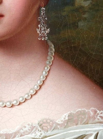 Fredrik Westin (1782-1862) Woman with pearl necklace, detail.