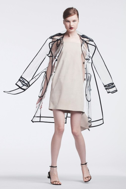 Outerwear Trend: Call for Rain Wanda Nylon's polyurethane trench and Yves Salomon's suede dress. Boyy bag; Lanvin sandals. Photo by Franck Mura