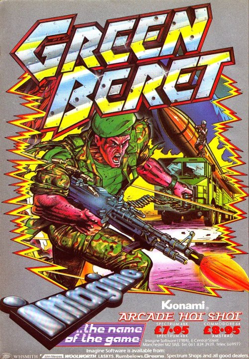 obscurevideogames:  fuckyeahbritisholdschoolgaming:  ZX Spectrum game Green Beret, the European title for Rush'n Attack. Imagine Software, 1986.  port of the 1985 Konami arcade game