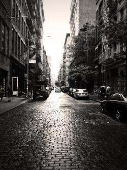 nickmiller:  Wet cobblestones after a light rain. Crosby Street in NYC.