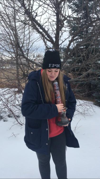 stonersunday stoner girl dank dope weed stoner bong bong tokes winter cold af me personal tripthroughspace