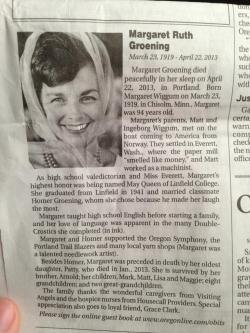 "obitoftheday:  wnyc:  Obituary for Matt Groening's mother, who died recently. Simpsons fans will recognize some names. -Jody, BL Show- (h/t metafilter)  Matt Groening's dad was literally ""Homer.""  In its own strange way, the show is a really beautiful epitaph."