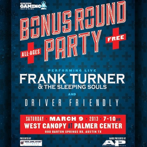What's this?… Another FREE, all-ages party at SXSW? Yes, please! Driver Friendly and Frank Turner & The Sleeping Sounds will be performing. March 9 in Austin, TX. #sxsw #bonusroundparty
